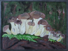 Pilze im Wald 60 cm x 80 cm