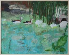 Teich mit Enten 80 cm x 100 cm